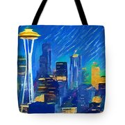 Colorful Seattle Skyline Panorama Tote Bag