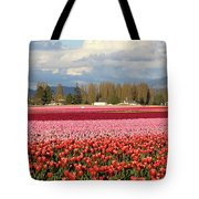 Colorful Skagit Valley Tulip Fields Panorama Tote Bag