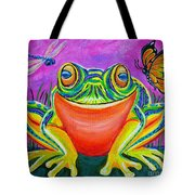 Colorful Smiling Frog-voodoo Frog Tote Bag by Nick Gustafson