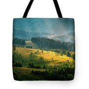 Colorful Summer Landscape In The Carpathian Mountains. Ukraine,  Tote Bag