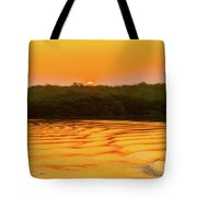 Colorful Sunrise Over Island In Galapagos Tote Bag