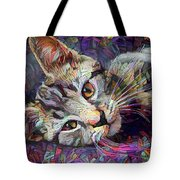 Colorful Tabby Kitten Tote Bag