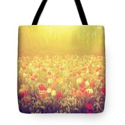 Colorful Tulip Flowers In The Garden On Sunny Day In Spring Tote Bag