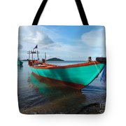 Colorful Turquoise Boat Near The Cambodia Vietnam Border Tote Bag