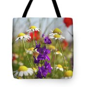 Colorful Wild Flowers Nature Scene Tote Bag