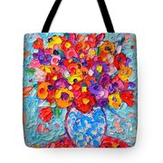 Colorful Wildflowers - Abstract Floral Art By Ana Maria Edulescu Tote Bag