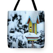 Colorful Wooden Birdhouse In The Snow Tote Bag