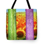Colorfull Tree Trunks In Thefield. Abstract Psychedelic Colors Tote Bag