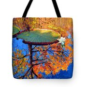 Colors Of Fall On The Lily Pond Tote Bag