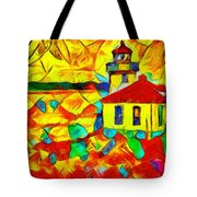 Colors Of Lime Kiln Lighthouse Tote Bag