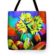 Colors, Pears And Flowers Tote Bag