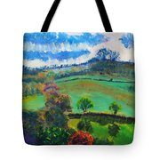 Colourful English Devon Landscape - Early Evening In The Valley Tote Bag