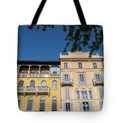 Colourful Facade Of Traditional Buildings In Como, Italy Tote Bag