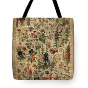 Colourful Meadow Flowers Over Vintage Dictionary Book Page  Tote Bag