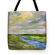 Colourful Sky Over The Creek Tote Bag