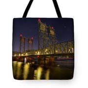 Columbia Crossing I-5 Interstate Bridge At Night Tote Bag