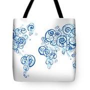Columbia University Colors Swirl Map Of The World Atlas Tote Bag