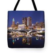 Columbus Skyline Reflection Tote Bag