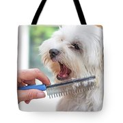 Combing Beards Of The White Dog Tote Bag