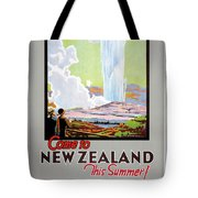 Come To New Zealand Vintage Travel Poster Tote Bag