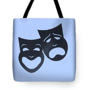Comedy N Tragedy Neg Cyan Tote Bag