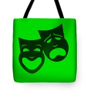 Comedy N Tragedy Neg Green Tote Bag