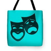 Comedy N Tragedy Turquoise Tote Bag