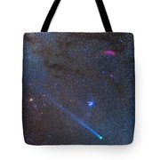Comet Lovejoys Long Ion Tail In Taurus Tote Bag