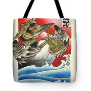 Common Loon Eating Noodles Tote Bag