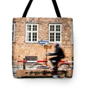 Commuter Going To Work By Cycle In Copenhagen Tote Bag