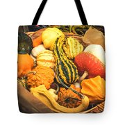 Composition Of Various Gourds In A Basket With Vignetting Tote Bag