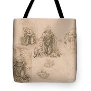 Compositional Sketches For The Virgin Adoring The Christ Child Tote Bag