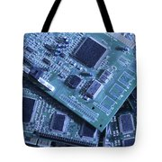 Computer Boards And Chips Lie In A Pile Tote Bag
