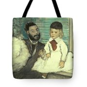Comte Le Pic And His Sons Tote Bag by Edgar Degas