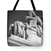 Comtemplation Of Justice 1 Bw Tote Bag