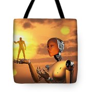 Concept Illustrating Mankind Becoming Tote Bag
