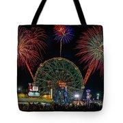 Coney Island At Night Fantasy Tote Bag