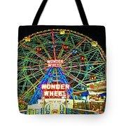 Coney Island's Wonderous Wonder Wheel In Neon Tote Bag