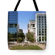 Confederate Monument With Buildings Tote Bag