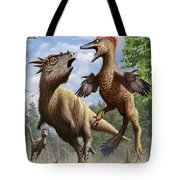 Confrontation Between Pectinodon Tote Bag