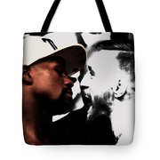 Conor Mcgregor And Floyd Mayweather Face Off  Tote Bag