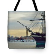 Uss Constellation And Domino Sugars - Sloop Of War Warship In Baltimore's Inner Harbor - Us Navy Tote Bag