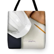 Construction Contractor Tools Resting On Top Of Blue Print Cad D Tote Bag
