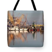 Construction Of Oil Platform With Boats Tote Bag