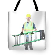 Construction Worker Carrying A Ladder Tote Bag