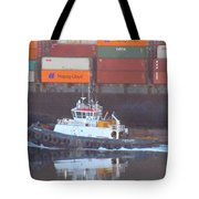 Container Ship And Tug Tote Bag