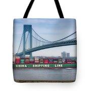Container Ship Passing The Verrazano Bridge Tote Bag
