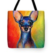 Contemporary Colorful Chihuahua Chiuaua Painting Tote Bag