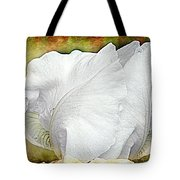 Contemporary White Iris Tote Bag