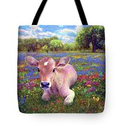 Contented Cow In Colorful Meadow Tote Bag